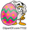 Clipart Picture Of A Chefs Hat Mascot Cartoon Character Standing Beside An Easter Egg by Toons4Biz