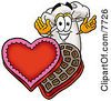 Clipart Picture Of A Chefs Hat Mascot Cartoon Character With An Open Box Of Valentines Day Chocolate Candies by Toons4Biz