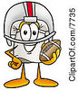 Clipart Picture Of A Chefs Hat Mascot Cartoon Character In A Helmet Holding A Football by Toons4Biz