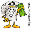 Clipart Picture Of A Chefs Hat Mascot Cartoon Character Holding A Dollar Bill by Toons4Biz