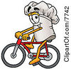 Clipart Picture Of A Chefs Hat Mascot Cartoon Character Riding A Bicycle by Toons4Biz