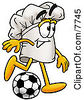 Clipart Picture Of A Chefs Hat Mascot Cartoon Character Kicking A Soccer Ball by Toons4Biz