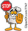 Clipart Picture Of A Chefs Hat Mascot Cartoon Character Holding A Stop Sign by Toons4Biz