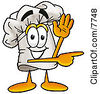 Clipart Picture Of A Chefs Hat Mascot Cartoon Character Waving And Pointing by Toons4Biz
