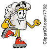 Clipart Picture Of A Chefs Hat Mascot Cartoon Character Roller Blading On Inline Skates by Toons4Biz