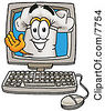 Clipart Picture Of A Chefs Hat Mascot Cartoon Character Waving From Inside A Computer Screen by Toons4Biz