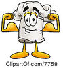 Clipart Picture Of A Chefs Hat Mascot Cartoon Character Flexing His Arm Muscles by Toons4Biz