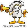 Clipart Picture Of A Chefs Hat Mascot Cartoon Character Holding A Megaphone by Toons4Biz