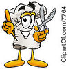 Clipart Picture Of A Chefs Hat Mascot Cartoon Character Holding A Pair Of Scissors by Toons4Biz
