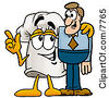Clipart Picture Of A Chefs Hat Mascot Cartoon Character Talking To A Business Man by Toons4Biz