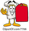 Clipart Picture Of A Chefs Hat Mascot Cartoon Character Holding A Red Sales Price Tag by Toons4Biz
