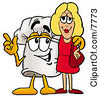 Clipart Picture Of A Chefs Hat Mascot Cartoon Character Talking To A Pretty Blond Woman by Toons4Biz