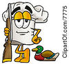 Clipart Picture Of A Chefs Hat Mascot Cartoon Character Duck Hunting Standing With A Rifle And Duck by Toons4Biz