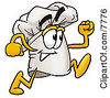 Clipart Picture Of A Chefs Hat Mascot Cartoon Character Running by Toons4Biz
