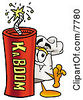 Clipart Picture Of A Chefs Hat Mascot Cartoon Character Standing With A Lit Stick Of Dynamite by Toons4Biz
