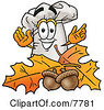 Clipart Picture Of A Chefs Hat Mascot Cartoon Character With Autumn Leaves And Acorns In The Fall by Toons4Biz
