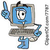 Clipart Picture Of A Desktop Computer Mascot Cartoon Character Pointing Upwards by Toons4Biz
