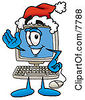 Clipart Picture Of A Desktop Computer Mascot Cartoon Character Wearing A Santa Hat And Waving by Toons4Biz