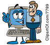 Clipart Picture Of A Desktop Computer Mascot Cartoon Character Talking To A Business Man by Toons4Biz