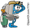 Clipart Picture Of A Desktop Computer Mascot Cartoon Character Swinging His Golf Club While Golfing by Toons4Biz