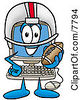 Clipart Picture Of A Desktop Computer Mascot Cartoon Character In A Helmet Holding A Football by Toons4Biz