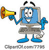 Clipart Picture Of A Desktop Computer Mascot Cartoon Character Holding A Megaphone by Toons4Biz