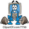 Clipart Picture Of A Desktop Computer Mascot Cartoon Character Lifting A Heavy Barbell by Toons4Biz