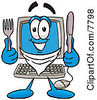 Clipart Picture Of A Desktop Computer Mascot Cartoon Character Holding A Knife And Fork by Toons4Biz