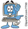 Clipart Picture Of A Desktop Computer Mascot Cartoon Character Waving And Pointing by Toons4Biz