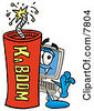 Clipart Picture Of A Desktop Computer Mascot Cartoon Character Standing With A Lit Stick Of Dynamite by Toons4Biz