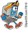 Clipart Picture Of A Desktop Computer Mascot Cartoon Character Speed Walking Or Jogging by Toons4Biz