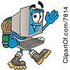 Clipart Picture Of A Desktop Computer Mascot Cartoon Character Hiking And Carrying A Backpack by Toons4Biz