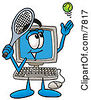 Clipart Picture Of A Desktop Computer Mascot Cartoon Character Preparing To Hit A Tennis Ball by Toons4Biz