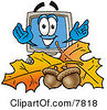 Clipart Picture Of A Desktop Computer Mascot Cartoon Character With Autumn Leaves And Acorns In The Fall by Toons4Biz