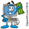 Clipart Picture Of A Desktop Computer Mascot Cartoon Character Holding A Dollar Bill by Toons4Biz