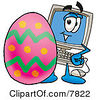 Clipart Picture Of A Desktop Computer Mascot Cartoon Character Standing Beside An Easter Egg by Toons4Biz