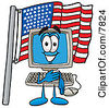 Clipart Picture Of A Desktop Computer Mascot Cartoon Character Pledging Allegiance To An American Flag by Toons4Biz