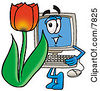 Clipart Picture Of A Desktop Computer Mascot Cartoon Character With A Red Tulip Flower In The Spring by Toons4Biz
