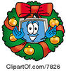 Clipart Picture Of A Desktop Computer Mascot Cartoon Character In The Center Of A Christmas Wreath by Toons4Biz