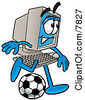Clipart Picture Of A Desktop Computer Mascot Cartoon Character Kicking A Soccer Ball by Toons4Biz