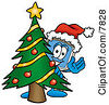 Clipart Picture Of A Desktop Computer Mascot Cartoon Character Waving And Standing By A Decorated Christmas Tree by Toons4Biz