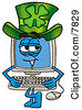 Clipart Picture Of A Desktop Computer Mascot Cartoon Character Wearing A Saint Patricks Day Hat With A Clover On It by Toons4Biz