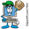 Clipart Picture Of A Desktop Computer Mascot Cartoon Character Catching A Baseball With A Glove by Toons4Biz