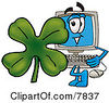 Clipart Picture Of A Desktop Computer Mascot Cartoon Character With A Green Four Leaf Clover On St Paddys Or St Patricks Day by Toons4Biz