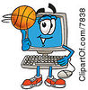 Clipart Picture Of A Desktop Computer Mascot Cartoon Character Spinning A Basketball On His Finger by Toons4Biz