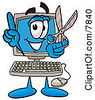 Clipart Picture Of A Desktop Computer Mascot Cartoon Character Holding A Pair Of Scissors by Toons4Biz