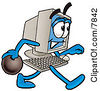 Clipart Picture Of A Desktop Computer Mascot Cartoon Character Holding A Bowling Ball by Toons4Biz