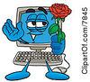 Clipart Picture Of A Desktop Computer Mascot Cartoon Character Holding A Red Rose On Valentines Day by Toons4Biz