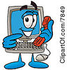 Clipart Picture Of A Desktop Computer Mascot Cartoon Character Holding A Telephone by Toons4Biz