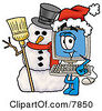 Clipart Picture Of A Desktop Computer Mascot Cartoon Character With A Snowman On Christmas by Toons4Biz